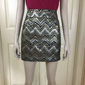 Metallic skirt gold silver black NYE Trina Turk